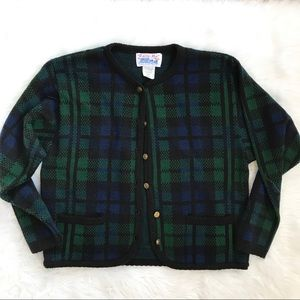 Vintage Tally-Ho Plaid Librarian Cardigan Sweater